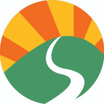 Rising Sun logo: A green hill with white river running down it and orange and yellow sun rays rising above.